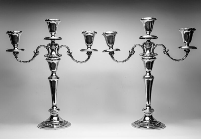 Gorham Strasbourg Sterling Silver Pair of Candelabras 3 Light Convertible 1130