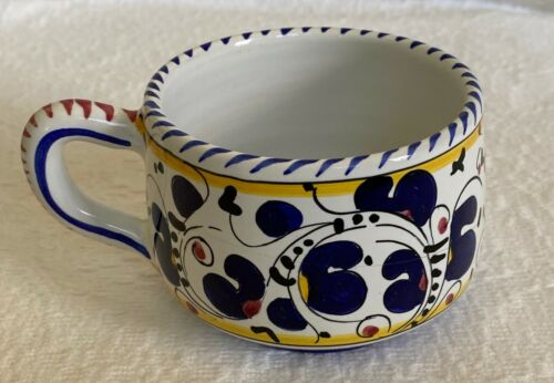 Deruta Hand-painted Orvieto Blue Rooster Mug Cup, Majolica Pottery Used