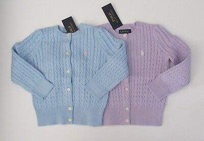 d716e29270c NWT Ralph Lauren Girls Mini Cable Cotton Cardigan Purple Blue Sweater 5 6 6x  NEW