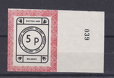 1971 STRIKE MAIL OSBORNE BELMONT & SUTTON POST 5p MARGINAL IMPERFORATE MNH (a)