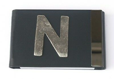 Personalised Metal Business Or Credit Card Holder Black Pu Letters Gift