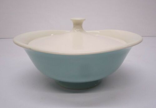 Vtg MCM Taylor Smith & Taylor Covered Casserole Serving Dish Blue Green Lidded