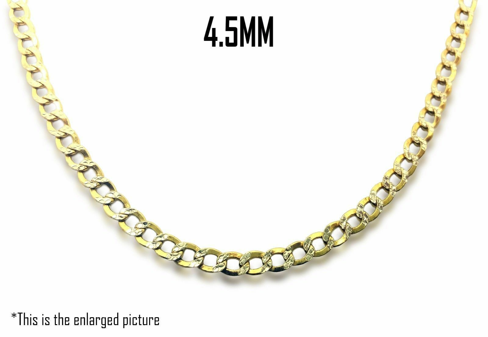 10K Two Tone Gold 4.5mm Hollow Concave Curb Diamond Cut Cuban Link Chain 18″-30″ Fine Jewelry