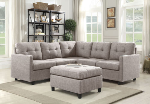 Contemporary 3PC Grey Sectional Sofa Microsuede Reversible C