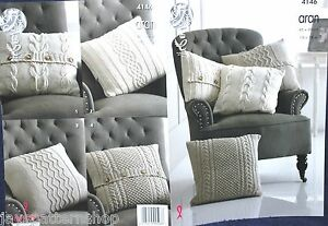 Aran Knit Assorted Cushion Covers - 4 Designs Knitting Pattern 18 x 18 Inch