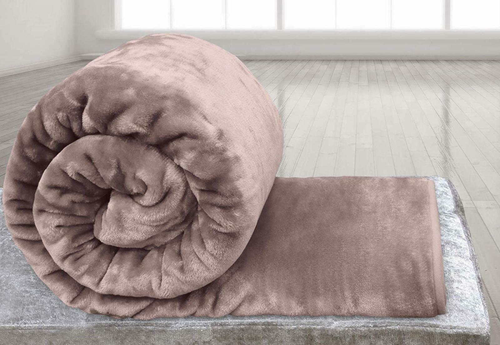 NEW FAUX FUR BLUSH PINK THROW SOFA BED MINK WARM BLANKET DOUBLE /& KING SIZE
