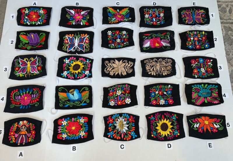 Beautiful Embroidered Mexican Face Mask Covering ,Washable & Reusable Face Mask