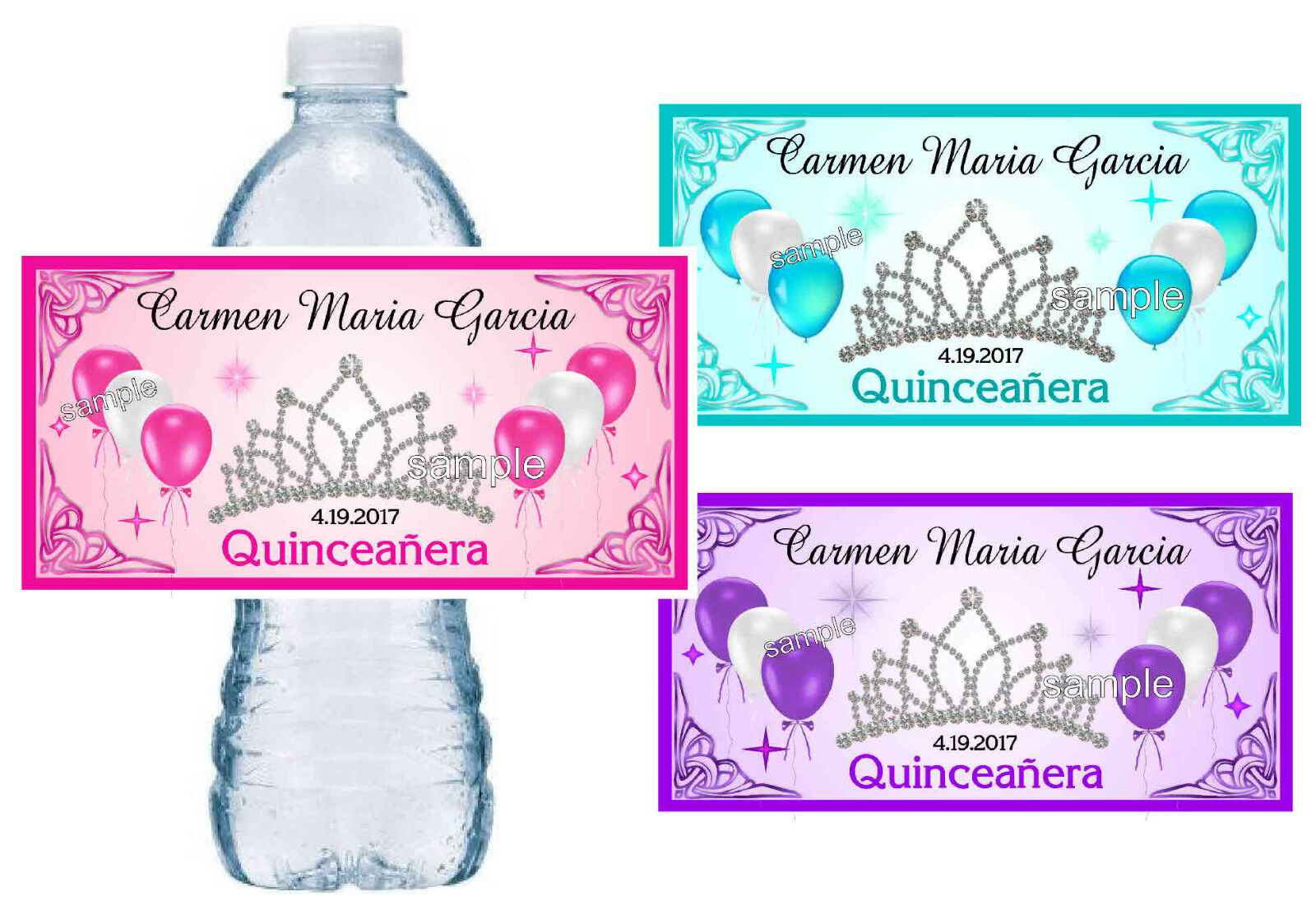 QUINCEANERA WATER BOTTLE LABELS ~ PERSONALIZED ~ GLOSSY ~ WA