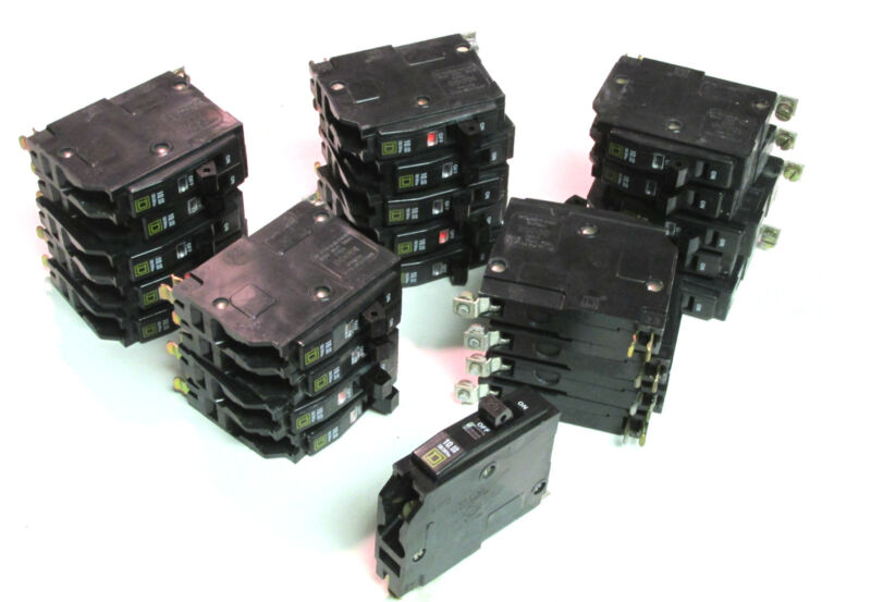 * 25 Square D Circuit Breakers 1P, 20A Cat# QOB120 Newer-Style ...   YJ-43