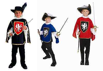 CHILD THREE MUSKETEER COSTUME RENAISSANCE BOY COSTUMES BLUE BLACK RED 90077 - Three Costumes