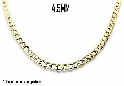"10K Two Tone Gold 4.5mm Hollow Concave Curb Diamond Cut Cuban Link Chain 18""-30"""