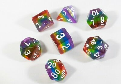 Translucent Rainbow Aurora Poly Dice Set Blue Green Yellow Orange Red Purple (7)