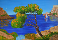 Quadro Dipinto Olio E Spatole Su Tela Cm. 50x70 - Declivio Sul Mare -  - ebay.it