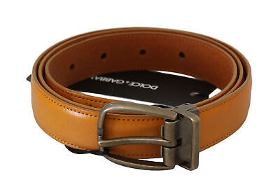 DOLCE & GABBANA Belt Yellow Calfskin Leather Metal Buckle s. 95cm / 38in $380