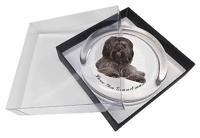 Tibetan Terrier 'Love You Grandma' Glass Paperweight in Gift Box Ch, AD-TT2lygPW