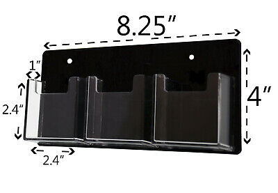 Business Card Holder Vertical 3 Pocket Clear And Black Wall Mount Qty 6