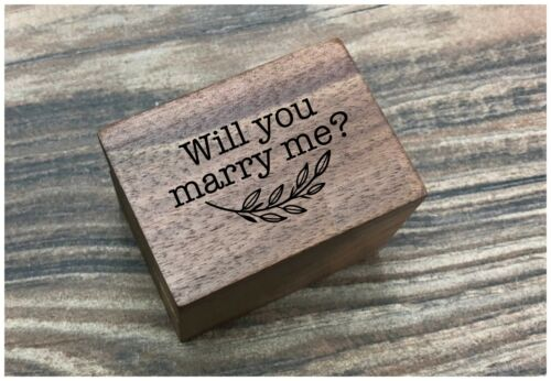 Will You Marry Me Laser Engraved Magnetic Wooden Ring Box | Engagement Ring Box