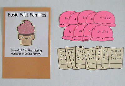 Teacher Made Math Center Resource Game Missing Equation Basic Fact Families (Fact Family Math)