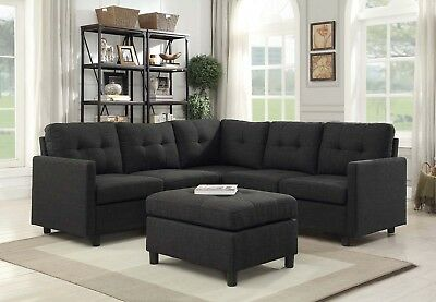 - Modern Sectional Sofa Living Room Furniture Contemporary Sofa Set 4-5 Seat Black
