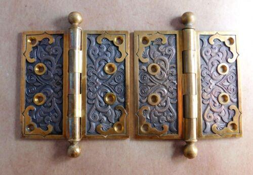 2 Antique Peterboro 4 1/2 x 4 1/2 door hinges cast bronze brass Victorian c.1885