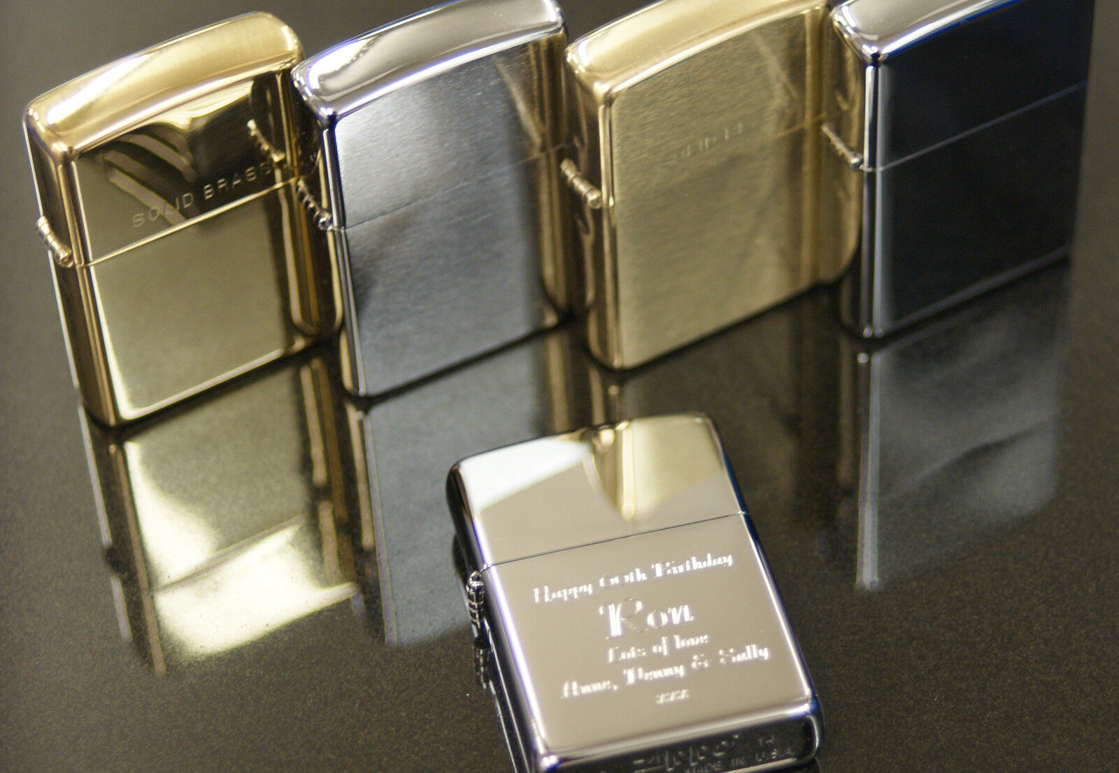 Personalised Zippo Lighters, free engraving, fast free delivery. Genuine Zippo