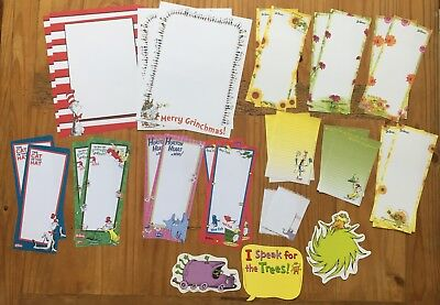 Lot Dr Seuss Cat in the Hat Grinch Horton Stationery Memo Paper 29 sheets