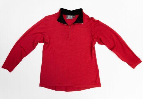 Ladies Size 12 KATHMANDU Altica Red 100% Merino Wool Thermal Long Sleeve Top