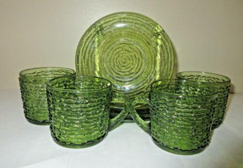 Vtg Anchor Hocking Soreno Lot 4 Cups & Saucers Avocado Glass MCM 8 Pieces Total