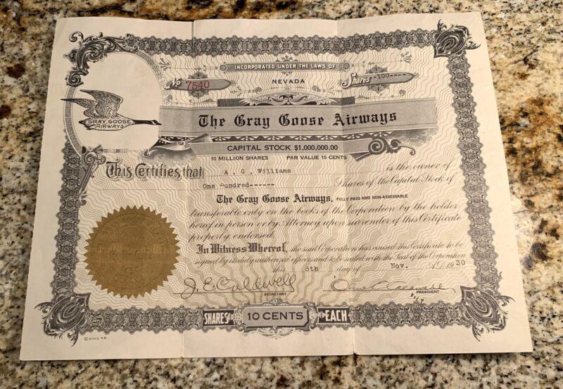 1930 GRAY GOOSE AIRWAYS, INC. 100Stock J.E. Caldwell
