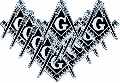 "10 PCS Masonic Logo Embroidered PATCH Iron-on Square Compass Emblem Badge 3"" BLK"