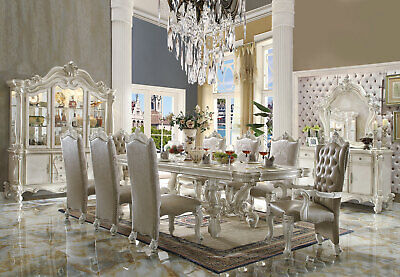 Traditional Antique White Dining Room Set 9 piece Rectangular Table Chairs IACD White Rectangular Dining Table