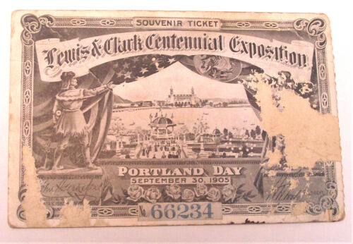 1905 Lewis & Clark Centennial Exposition / One Day Ticket #66234 / Portland, OR