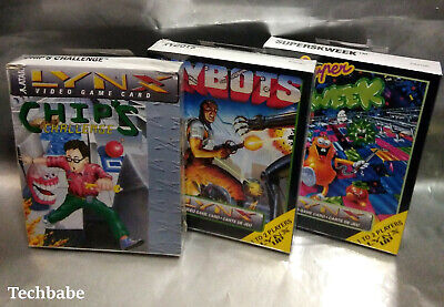 3x New Games Lot - Chip's Challenge & XYBOTS +Super Skweek for Atari Lynx system