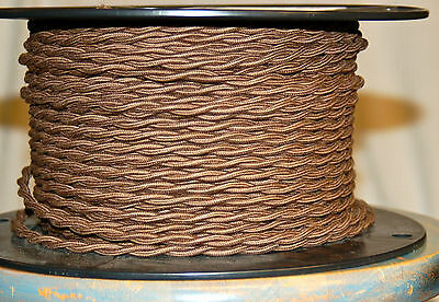 Brown Twisted Cotton Covered Wire Vintage Style Cloth Lamp Cord Antique Fan 18ga