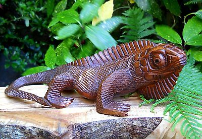 GREAT QUALITY WOOD HAND CARVED LIZARD 32 CM  ANIMAL FIGURE ORNAMENT NEW