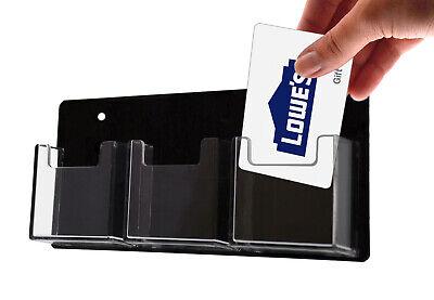 Business Card Holder 3 Pocket Vertical Wall Rack Black Clear Qty 24