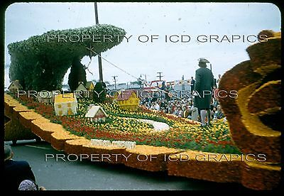 1957 TOURNAMENT OF ROSES PARADE FLOAT 35mm PHOTO SLIDE  Electricity Ben Franklin