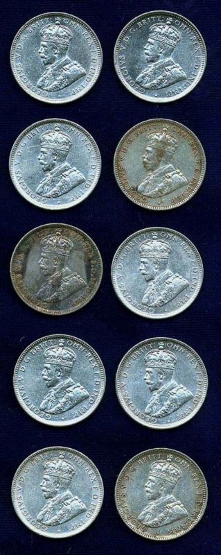 AUSTRALIA GEORGE V 1917-M  1 SHILLING SILVER COINS, LOT OF (10), MOSTLY XF