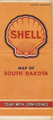 Party City South Hill (Vintage 1941 SHELL OIL COMPANY Road Map SOUTH DAKOTA Black Hills Sioux City)