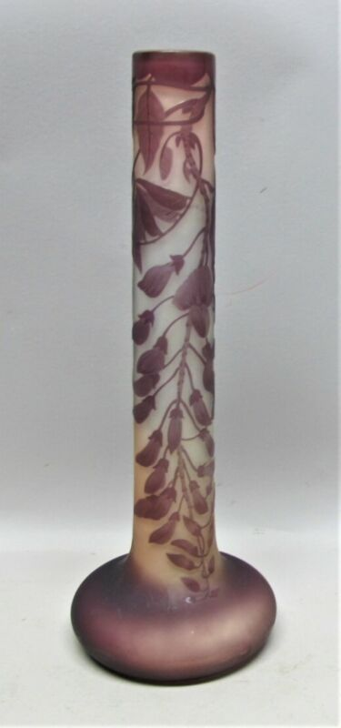"""Gorgeous 13.5"""" ANTIQUE SIGNED GALLE """"Wisteria"""" Art Glass Vase  c. 1904  French"""