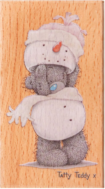 Docraft rubber on wood. Christmas stamp Tatty Teddy dressing up snowman 9.5cm