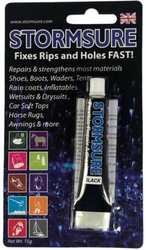Stormsure BLACK repair adhesive glue 15g bottle to repair flexible material