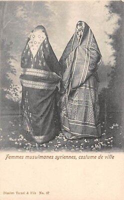 SYRIA, 2 MUSLIM WOMEN OF THE CITY IN APPROPRIATE COSTUME, TARAZI PUB c. 1902