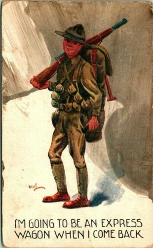 """Antique WWI Postcard  CAMP GORDON GA  SOLDIER  """"GOING TO BE AN EXPRESS WAGON"""""""