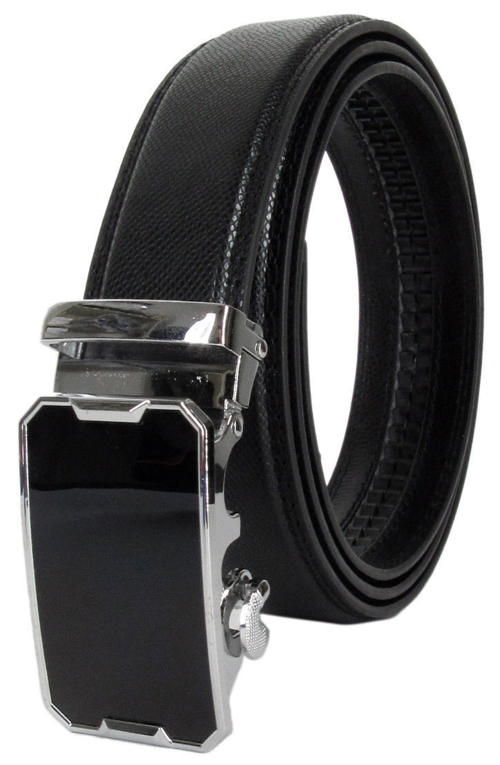 Men Automatic Ratchet Click Lock Belt Genuine Leather Designer Style Buckle Belts