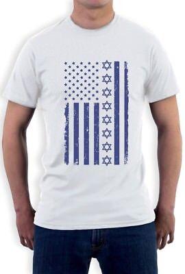 Israel Flag T-shirt - Blue Jewish U.S Flag Israel - Gift for American Jew T-Shirt Star of David