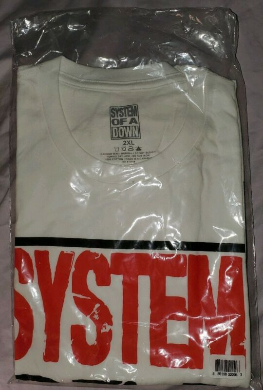 System Of A Down White Logo Shirt 2XL Sealed New