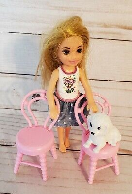 Barbie Chelsea Club Doll Tree House Replacement Chairs Doll & White Dog