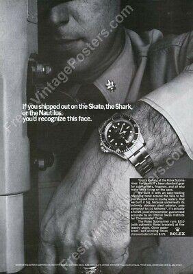 Rolex Submariner watch US Navy submarine photo 1960s ad new poster 17x24