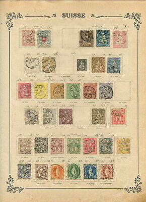 EXCELLENT SWITZERLAND COLLECTION ON ANTIQUE ALBUM PAGES-1850'S TO 1970'S!